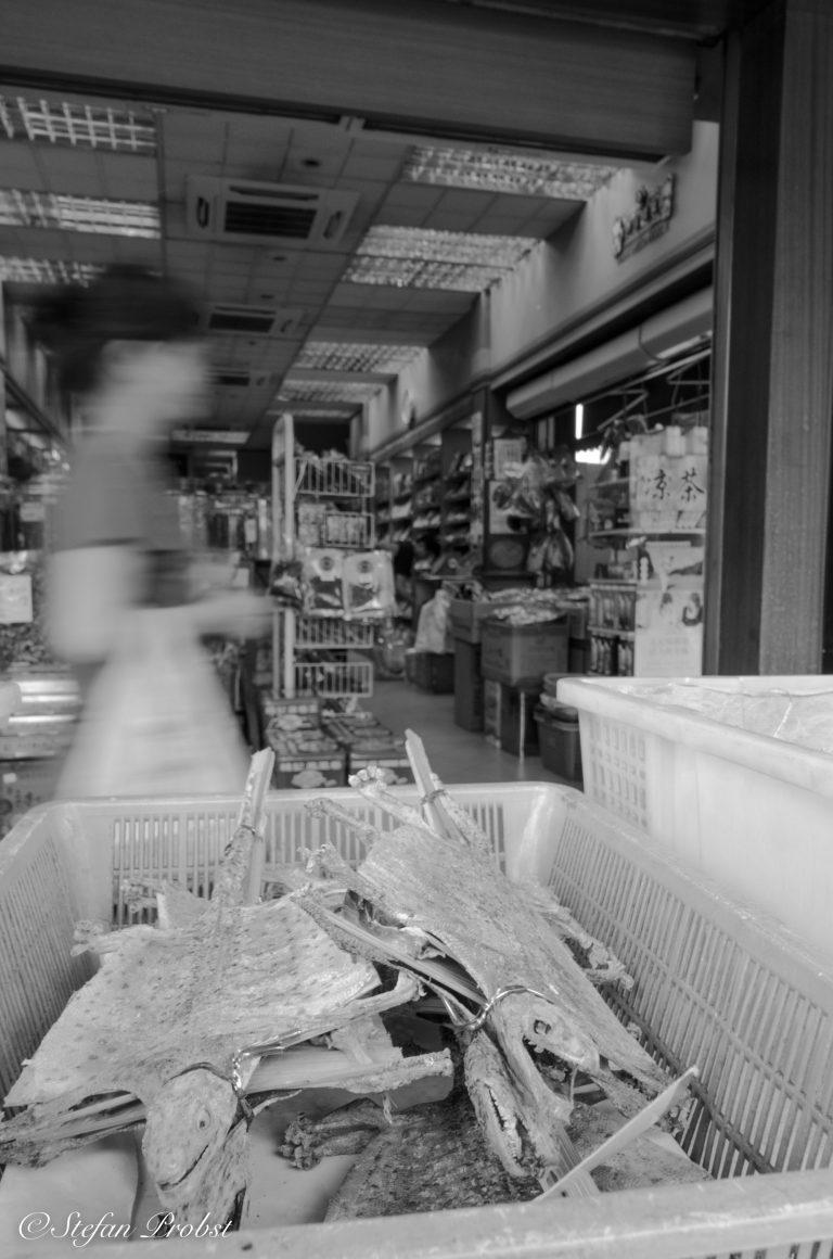 Getrocknete Reptilien vor einer Apotheke in Singapur