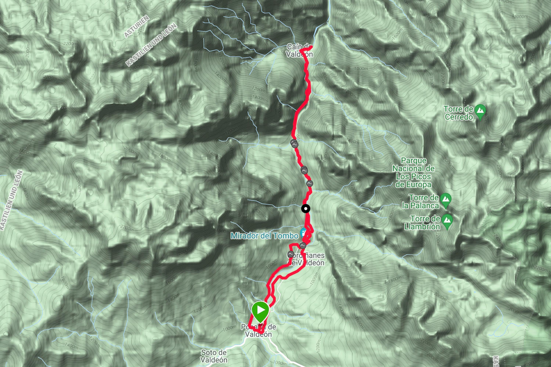 Mountainbiketour Posada de Valdeón nach Cain de Valdeón Karte