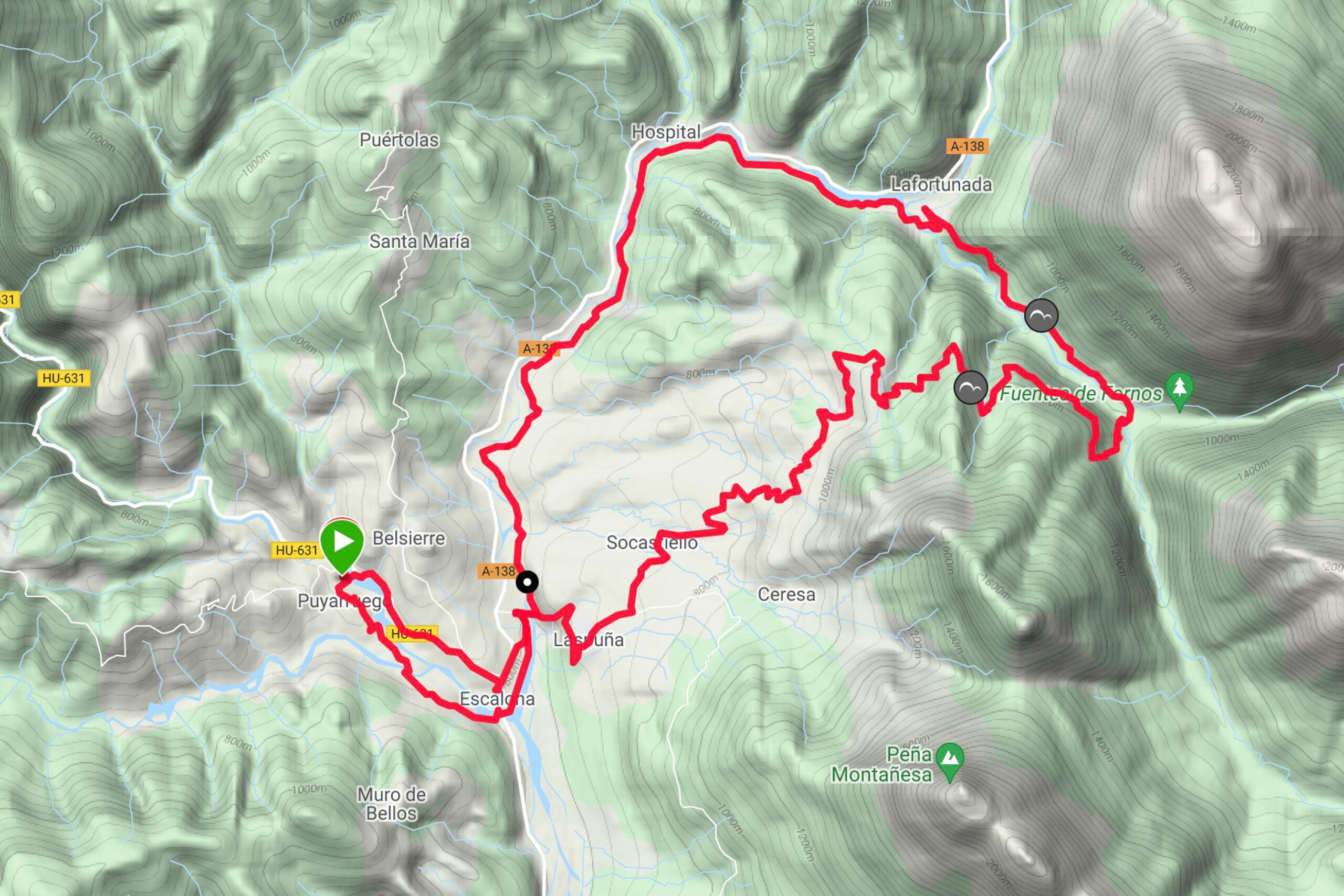 "Mountainbiketour ZZ-008 ""Var la Selva de Irués"" Karte"