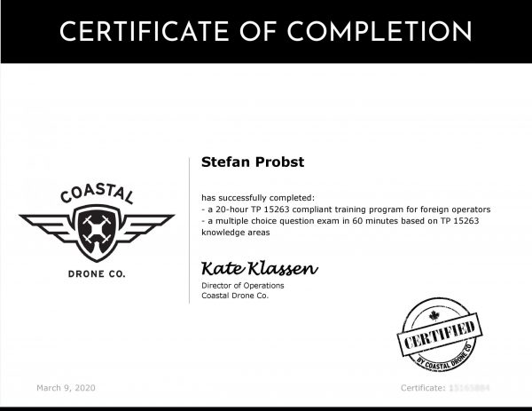 Coastal Drone Co TP15263 Training Certificate für Canada SFOC