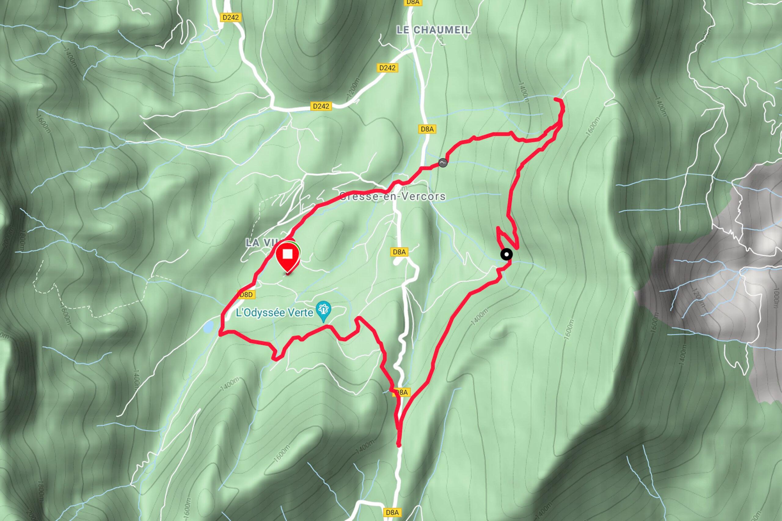 Vercors Mountainbiken Pas du Separon Karte
