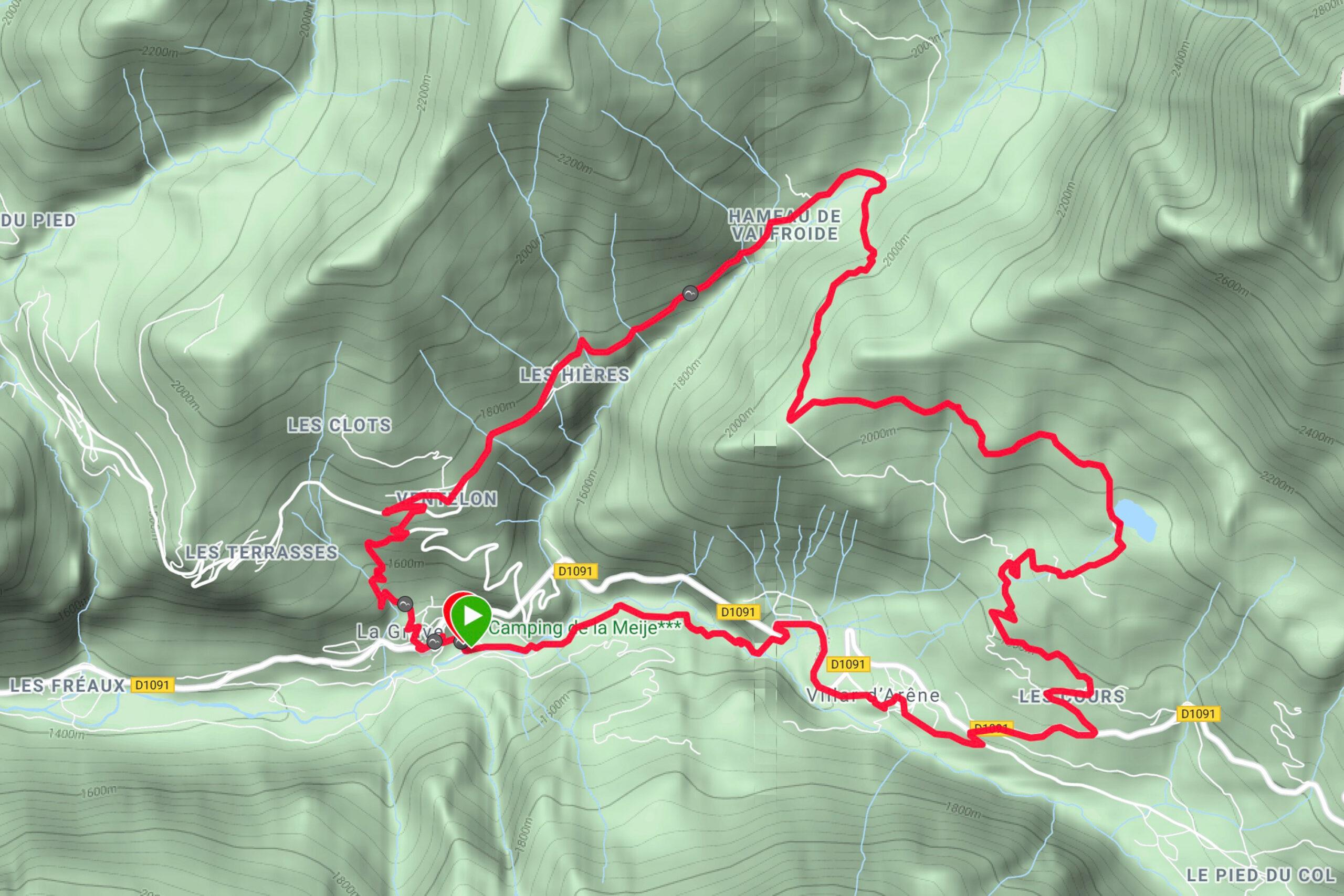 La Grave Mountainbiken Lac du Pontet Karte